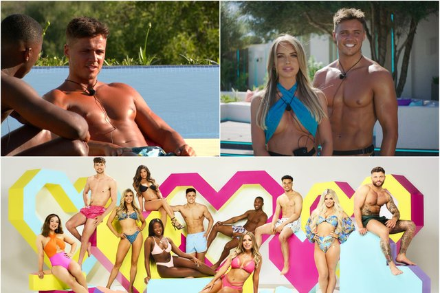 Amble's Brad McClelland on Love Island and paired with Faye Winter. Below, the original Love Island contestants, from left, Sharon Gaffka, Hugo Hammond, Chloe Burrows, Shannon Singh (now evicted), Kaz Kamwi, Brad McClelland, Faye Winter, Aaron Francis, Toby Amolaran, Liberty Poole and Jake Cornish.