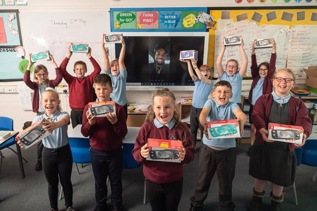 Children at Choppington Primary School receive a special message from Newcastle United player Allan Saint-Maximin who arranged with Newcastle United Foundation to donate 11 Nintendo Switch' to acknowledge their efforts and contributions in class.