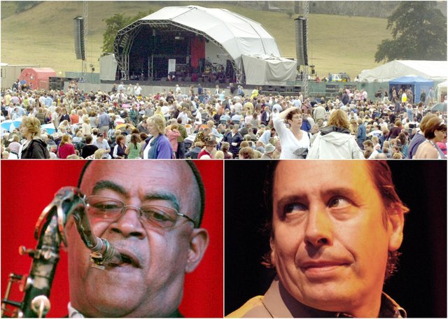 Jools Holland and his Rhythm and Blues Orchestra perform at the first concert in the Pastures beneath Alnwick Castle in 2006.