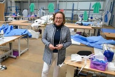 Berwick MP Anne-Marie Trevelyan on a visit to Northumbria Healthcare NHS Foundation Trust's PPE manufacturing and distribution hub in Cramlington. Picture:  North News and Pictures.