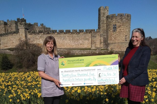 Vanessa Proudlock, head of community engagement for Northumberland Estates, is pictured handing over a cheque for £24,516.00 to Maxine Shell, HospiceCare's family support co-ordinator and nursing assistant, following a year of fundraising for the Hospice.