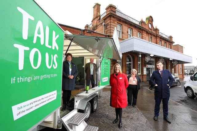 The launch of a new partnership between LNER and Samaritans at Berwick station. Picture: LNER