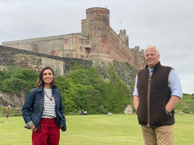 Countryfile presenter Anita Rani with Bamburgh Castle owner Francis Watson Armstrong.