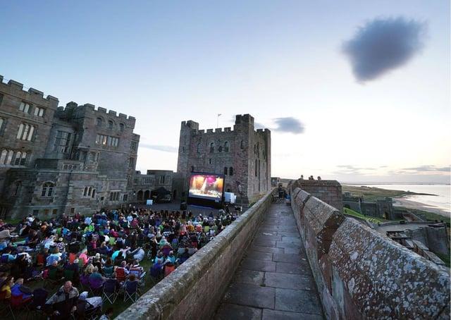 Outdoor cinema at Bamburgh Castle.
