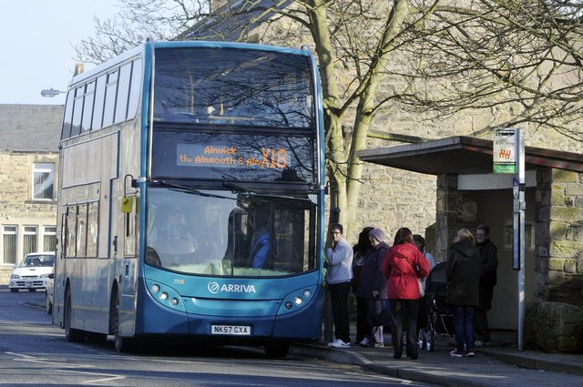 An Arriva bus in Amble.