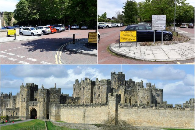 Car parks are being closed due to filming at Alnwick Castle.