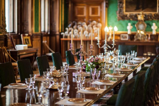 The dining room at Alnwick Castle.