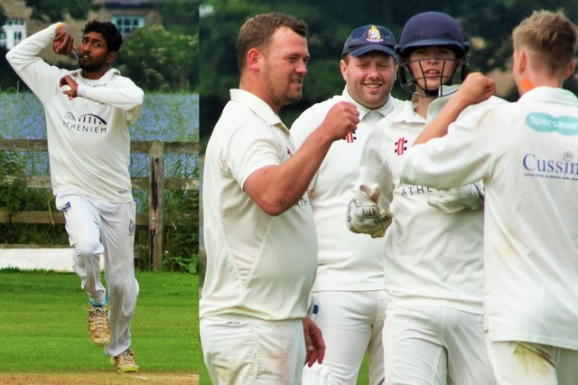 Dushan Hermantha bowling for Alnmouth and Paul Straker (left) celebrates a wicket with team mates.