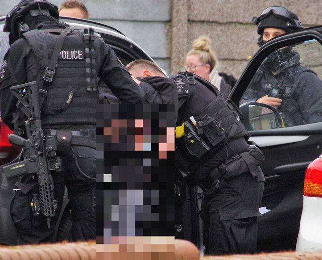Armed police in the area of Broadway Circle, Blyth.