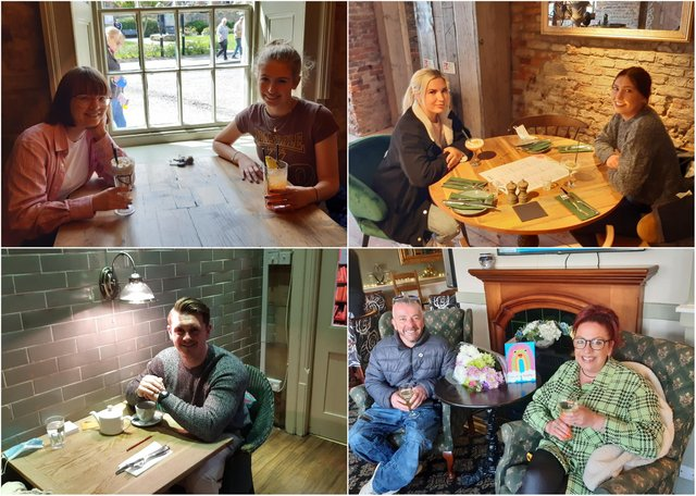 Customers enjoying the reopening of indoor hospitality in Alnwick.