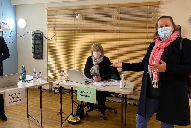 Anne-Marie Trevelyan MP at the Berwick vaccine hub.