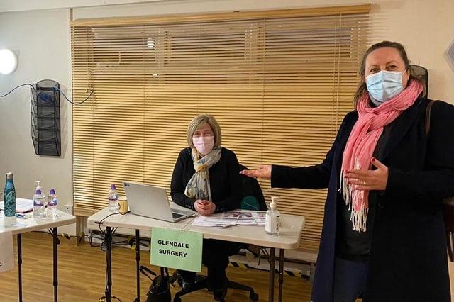 Berwick MP Anne-Marie Trevelyan on a visit to the Berwick vaccine hub.