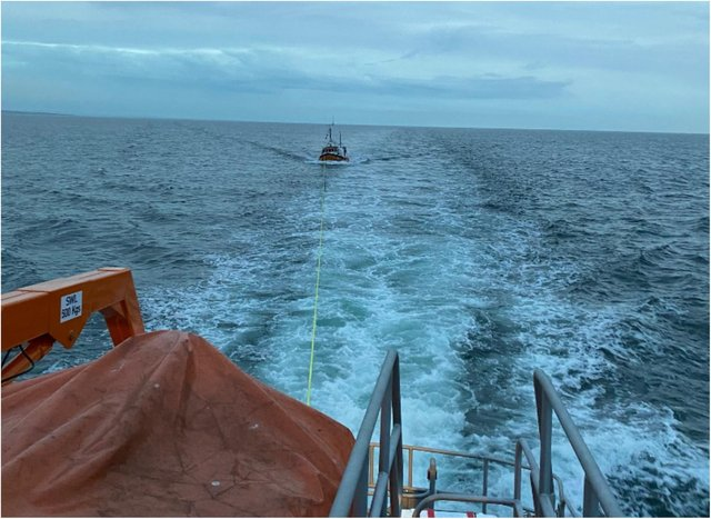 The fishing vessel was towed back to North Shields.