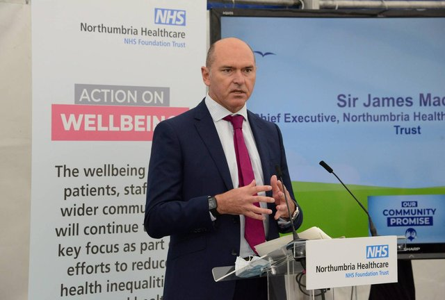 Northumbria Healthcare Chief Executive Sir James Mackey giving a speech at the launch of Our Community Promise at Berwick Infirmary. Picture by Raoul Dixon/North News