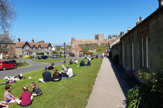 Busy scenes in Bamburgh over the bank holiday weekend.