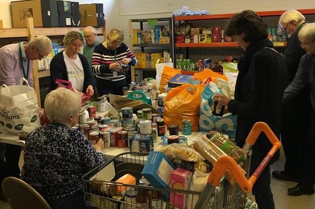 Volunteers in Alnwick District Food Bank.