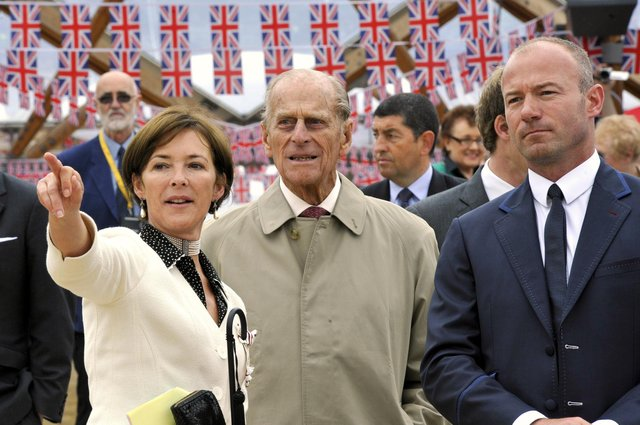 The visit of Her Majesty the Queen and His Royal Highness the Duke of Edinburgh to Alnwick. The Duchess of Northumberland with Prince Philip and Alan Shearer.