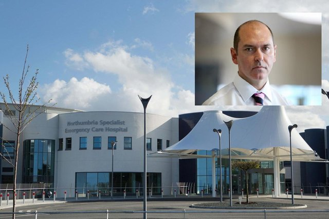 The Northumbria Emergency Care Hospital, in Cramlington, and (inset) Sir James Mackey, the trust's chief executive.