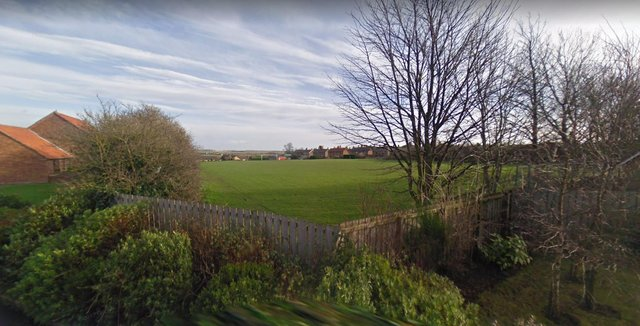 Belford's football pitch, viewed from Croft Way.