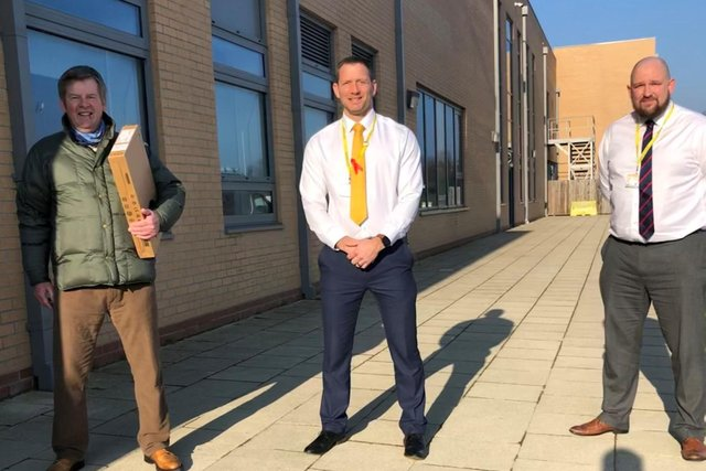 Cllr Gordon Castle, who helped connect True Potential to Duchess's Community High School, with co-heads Alan Rogers and James Wilson.