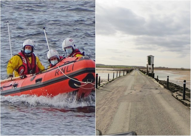 Seahouses inshore lifeboat crew at Holy Island causeway.