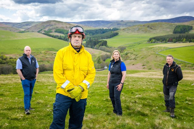 Visit Northumberland - Fire awareness campaign. L/R - Greg Gavin (Head of Neighbourhood Services), Gary Laskey (Fire station manager), Margret Anderson (Senior Ranger) and John Queen (Wildlife conservation manager).