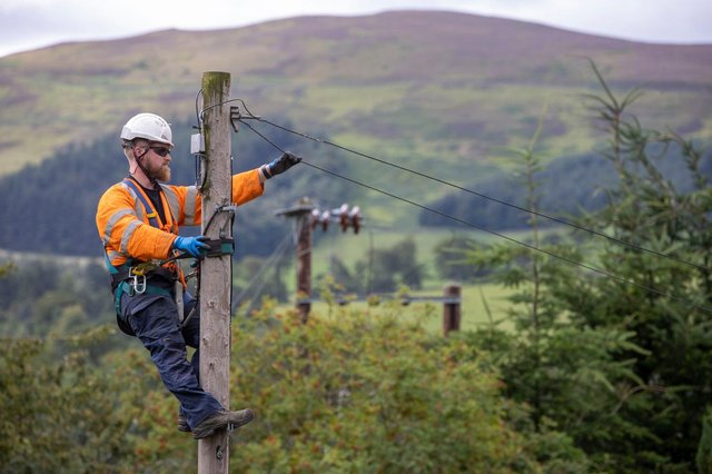 An Openreach engineer in remote countryside.
