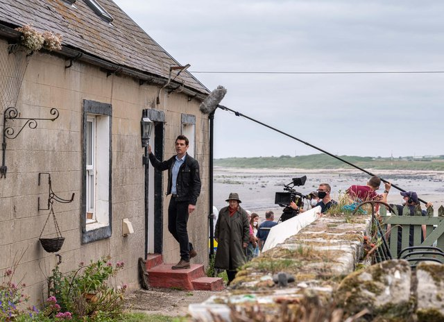 Kenny Doughty and Brenda Blethyn approach the house in Boulmer village used as a location for Series 11 of Vera.