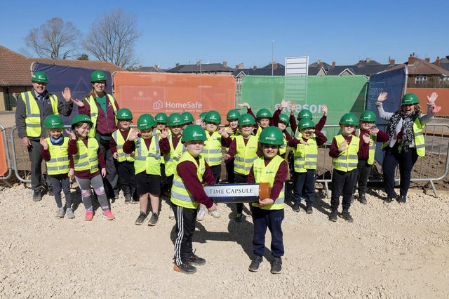 Pupils from Grange View Church of England First School visited the Grangemoor Park development and buried a Covid-19 time capsule.