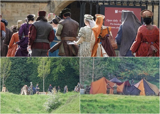 Alnwick Castle gets ready for what it is calling a 'private event' widely rumoured to be the filming of the latest Dungeons and Dragons movie, starring Hugh Grant.