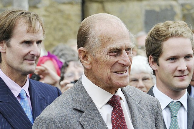 HRH Prince Philip with the Duke of Northumberland and George, Earl Percy, in Alnwick in June 2011. Picture by Jane Coltman
