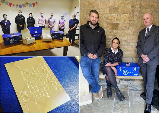 Alnwick couple Natalie and Callum Laidlaw have raised £5,000 to help bereaved families after losing their own son, Vinnie.