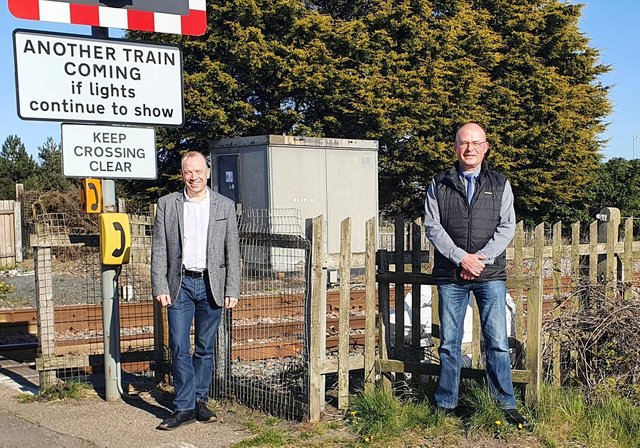 Chris Heaton-Harris and Ian Levy at Bebside level crossing