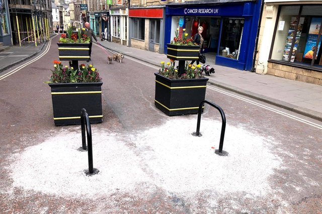 The mess left behind after the installation of new bike racks in Narrowgate, Alnwick.