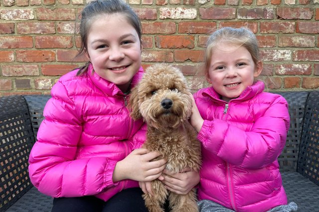Annie, 11, and Liberty, six, with Waffle the cockapoo.