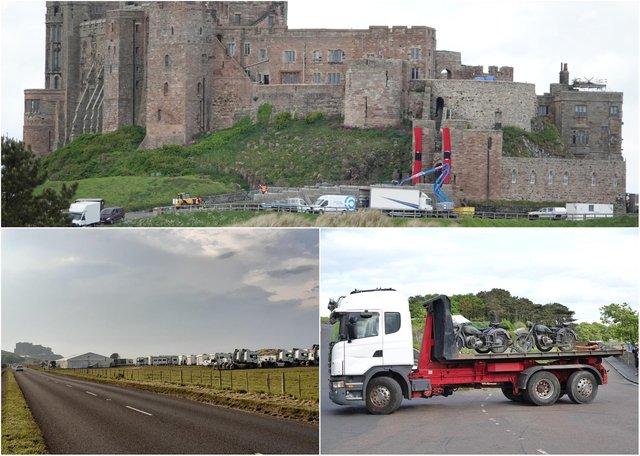 Filming at Bamburgh Castle.