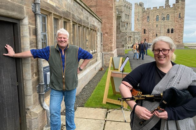 Bamburgh Castle owner Francis Watson-Armstrong and piper Joanne Kemp.