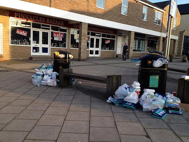 Overflowing bins in Seahouses at the end of a bank holiday weekend.
