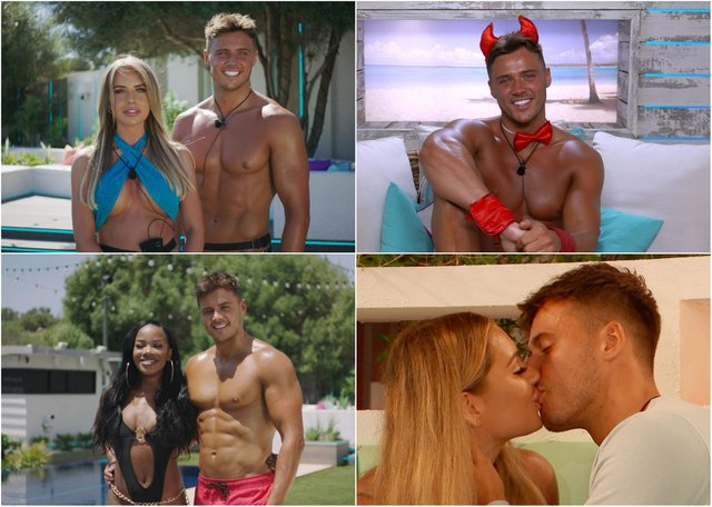 Amble's Brad McClelland on Love Island and paired with Faye Winter, top left; then Rachel Finni, bottom left; and snogging with newcomer Lucinder Strafford.