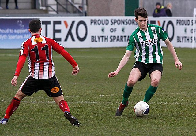 Aaron Cunningham in action for Blyth Spartans against Altrincham in February. (Photo credit: Bill Broadley)