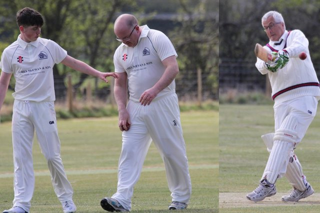 Ivor and Oliver Patterson who took seven wickets between them for Wooler against Bomarsund 2nds, with Peter Smith batting.