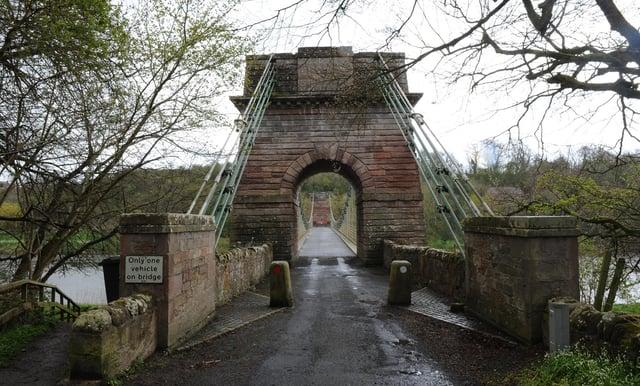 The Scottish side of the Union Chain Bridge.