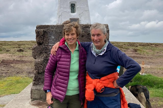 Yvonne Shell and Janet Dodds at the top of Cheviot.