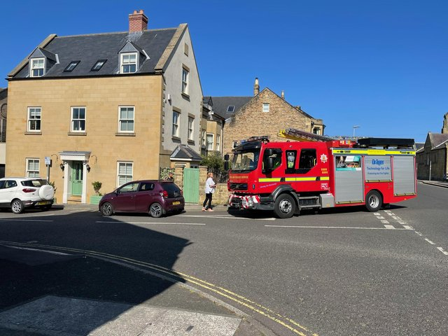 A fire engine at the scene.