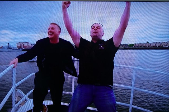 Garry and Mickey's winning moment in 'The Heist'.