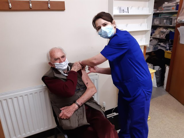 Retired doctor Jimmy Mitchell gets his Covid-19 vaccine in Berwick.