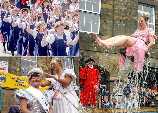 The popular Alnwick Fair was always full of colour, energy, laughter, music, dance ... and water!