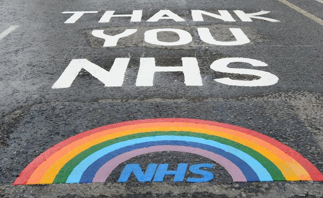 A rainbow tribute left to the NHS