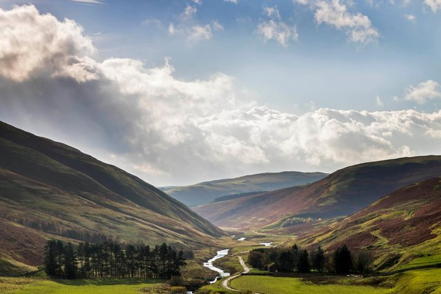 The view down the Coquet Valley towards Barrowburn from Barrow Law, Northumberland National Park.