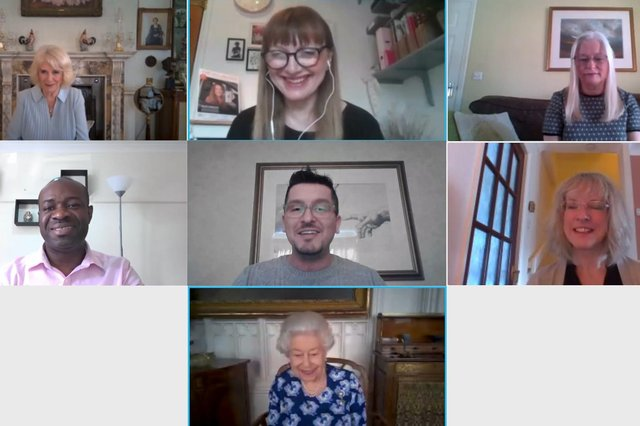 Royal Voluntary Service volunteer Sue Cadwallader, top right, on a video call with The Queen and Duchess of Cornwall. Picture: Buckingham Palace